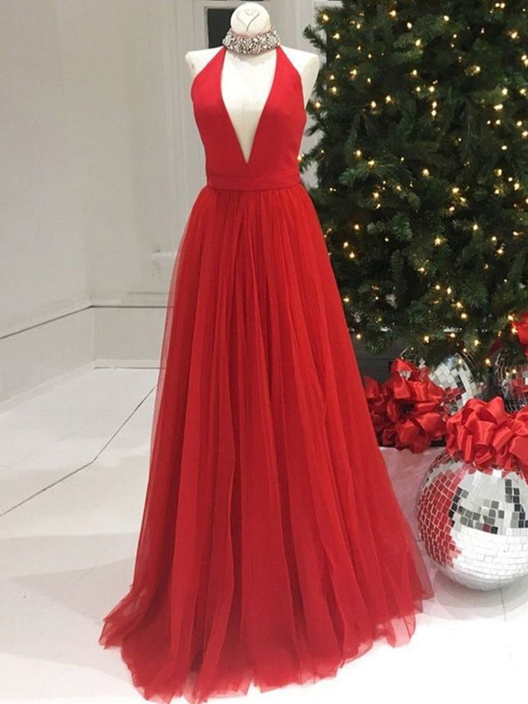 A Line V Neck Red Long Prom Dresses, Red V Neck Long Formal Evening Dresses