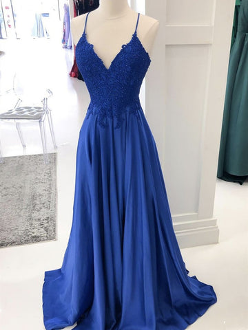 A Line V Neck Royal Blue Lace Prom Dresses, Royal Blue Lace Formal Evening Dresses