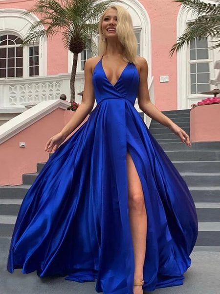 A Line V Neck Royal Blue Purple Long Prom Dress with Leg Slit, V Neck Blue Purple Formal Evening Dresses