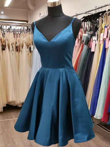 A Line V Neck Short Blue Prom Dresses, V Neck Short Blue Formal Graduation Dresses