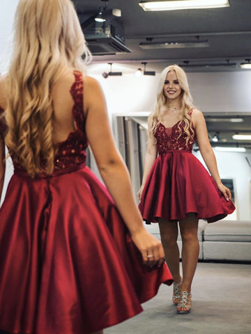 A Line V Neck Short Burgundy Lace Prom Dresses, Wine Red Short Lace Formal Graduation Dresses