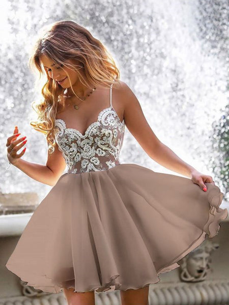 A Line V Neck Short Champagne Lace Prom Dresses, Short Champagne Lace Formal Graduation Dresses