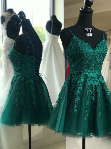 A Line V Neck Short Dark Green Lace Prom Dresses, Dark Green Lace Formal Homecoming Dresses