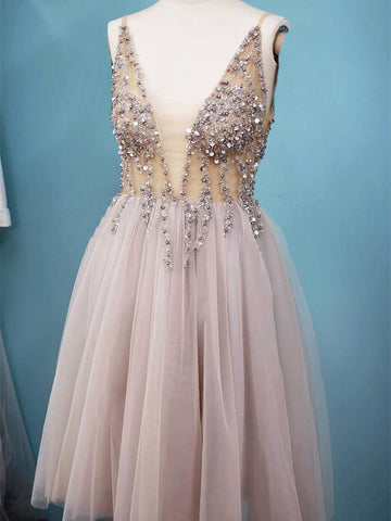 A Line V Neck Short Gray Beaded Prom Dresses, Short Grey Formal Homecoming Dress with Beading