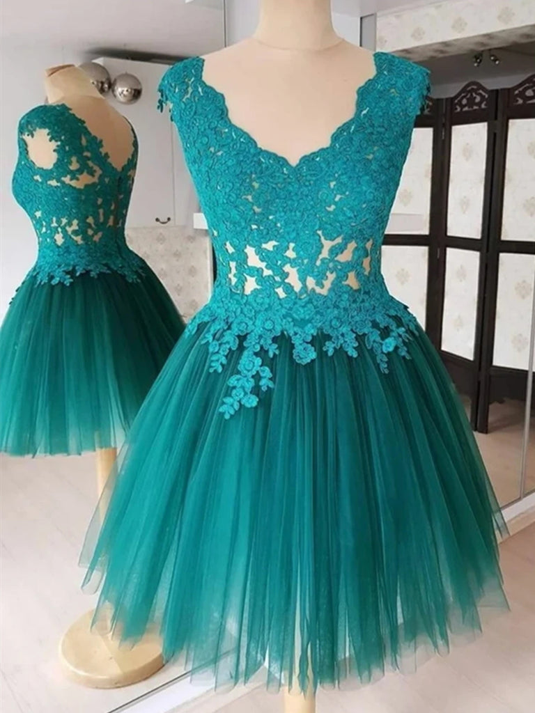A Line V Neck Short Green-Blue Lace Prom Dresses, Short Lace Formal Evening Graduation Dresses