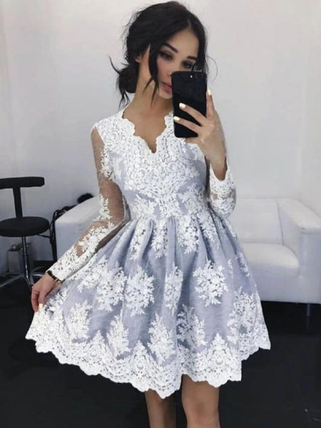 A Line V Neck Long Sleeves Short Lace Prom Dresses, Short Gray Lace Formal Homecoming Graduation Dresses