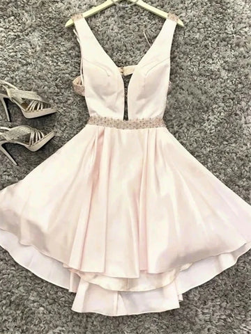 A Line V Neck Short Pink Prom Dresses, Short Pink Formal Graduation Homecoming Dresses