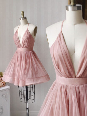 A Line V Neck Short Pink Tulle Prom Dresses, Short Pink Tulle Formal Evening Dresses