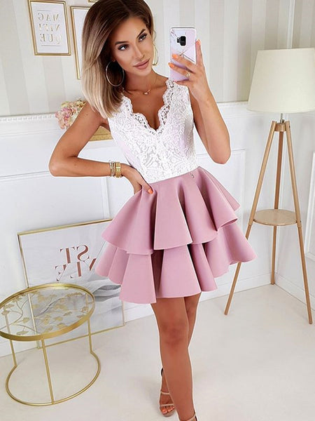 A Line V Neck Short Prom Dresses with White Lace, Short Lace Formal Homecoming Dresses