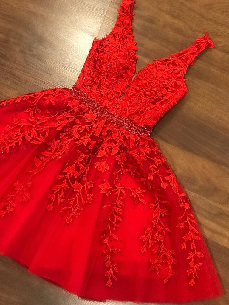 A Line V Neck Short Red Lace Prom Dresses, Short Red Lace Formal Graduation Homecoming Dresses