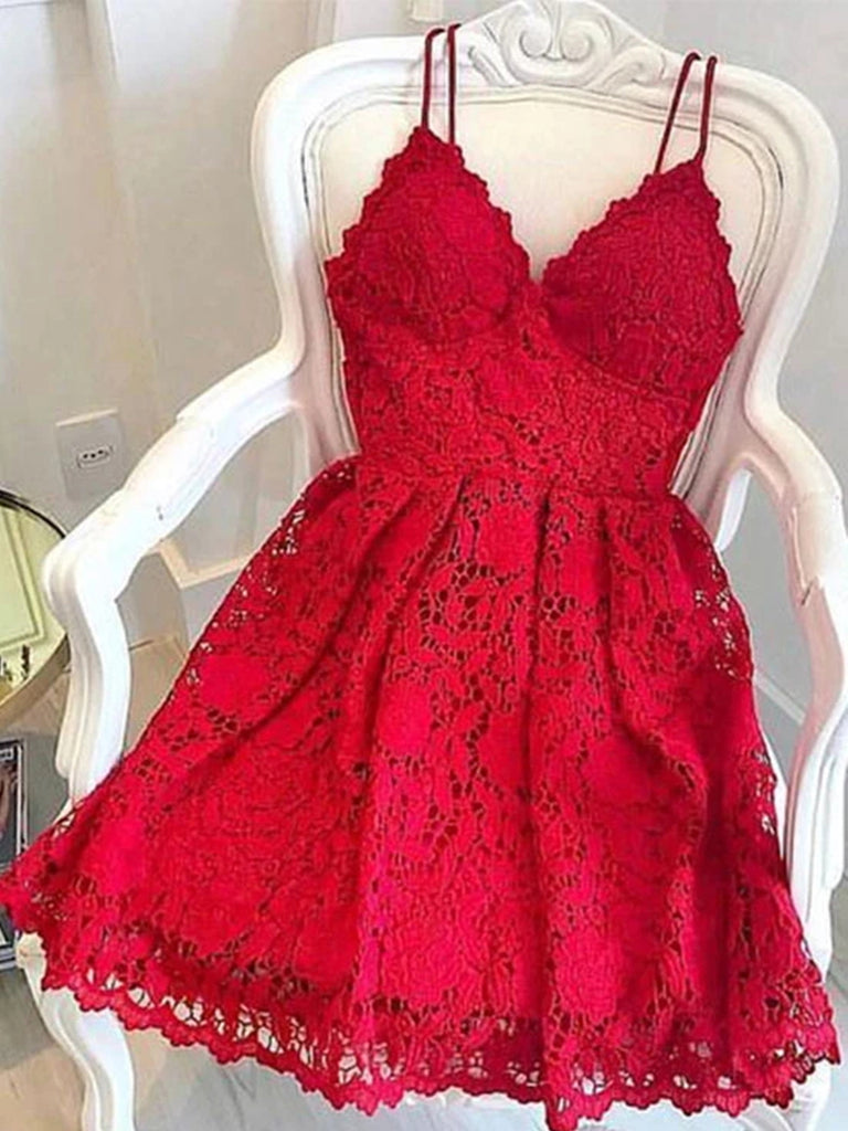 A Line V Neck Short Red Lace Prom Dresses, Short Red Lace Formal Homecoming Graduation Dresses