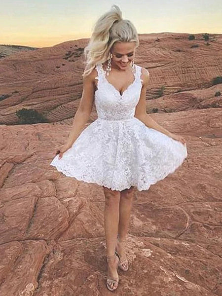 A Line V Neck Short White Lace Prom Dresses, Short White Lace Formal Homecoming Dresses