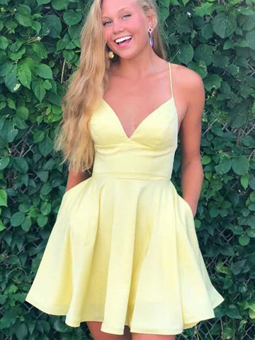 A Line V Neck Short Yellow Prom Dresses, Short Yellow Formal Homecoming Dresses