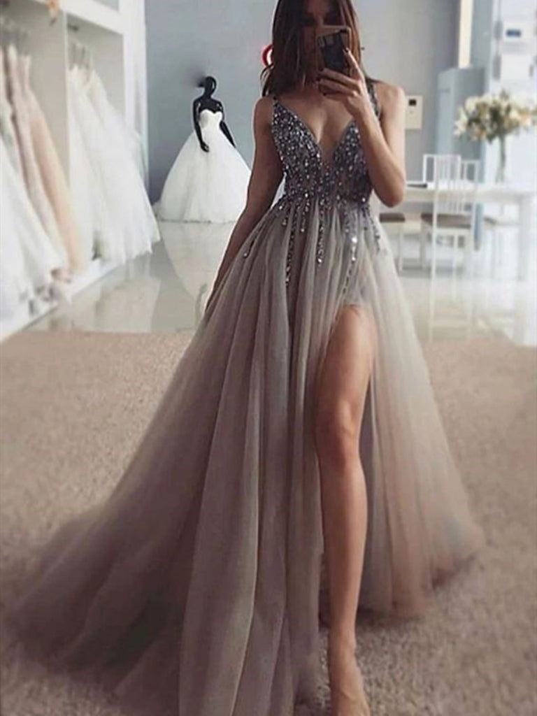 A Line V Neck Silver Gray Beaded Long Prom Dresses, Silver Gray Long Prom Dresss with Beading