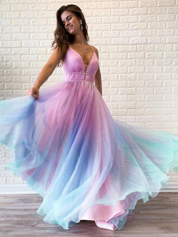 A Line V Neck Spaghetti Straps Ombre Long Prom Dresses, Ombre Long Formal Evening Dresses