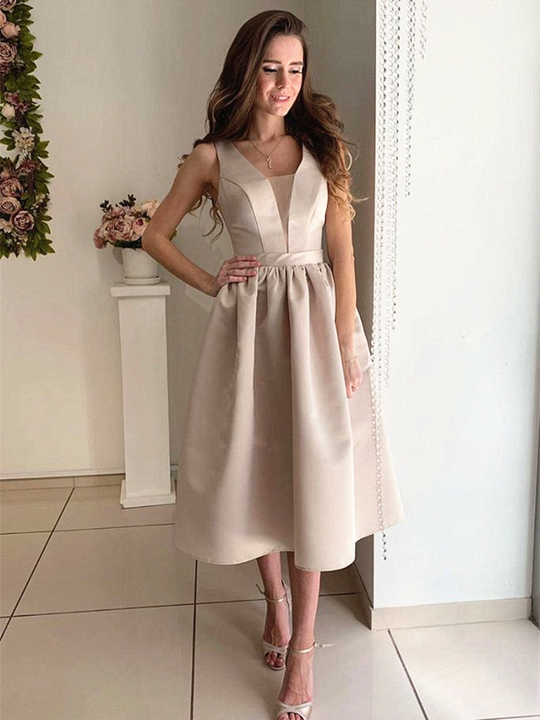 A Line V Neck Tea Length Champagne Satin Prom Dresses, Champagne Tea Length Formal Graduation Dresses