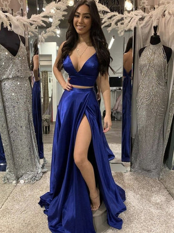 A Line V Neck Two Pieces Blue Prom Dresses, 2 Pieces Blue Formal Evening Dresses