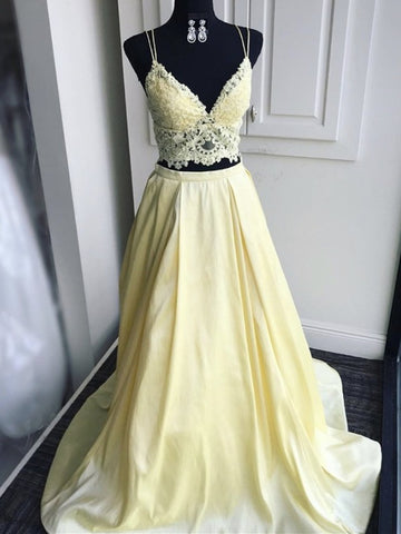 A Line V Neck Two Pieces Yellow Lace Prom Dresses, 2 Pieces Yellow Lace Formal Evening Dresses