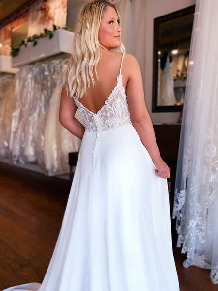A Line V Neck White Lace Wedding Dresses, White Lace Formal Prom Dresses