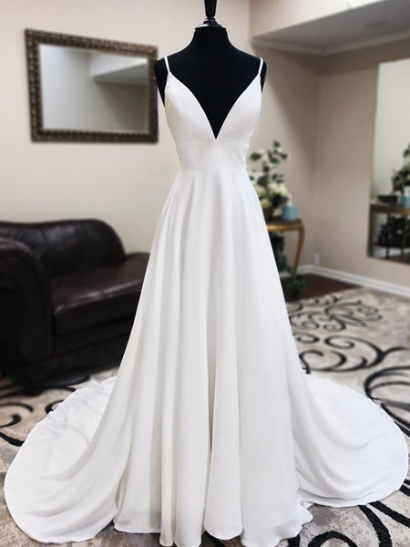 A Line V Neck White Satin Prom Dress with Lace Back, V Neck White Lace Wedding Dresses