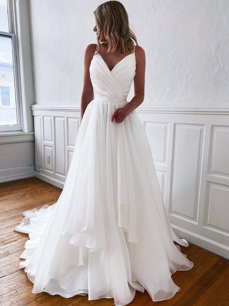 A Line V Neck White Wedding Dresses, V Neck White Prom Formal Dresses