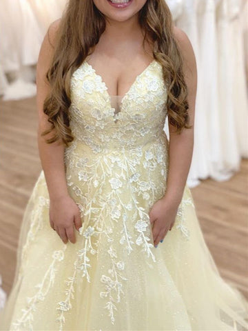 A Line V Neck Yellow Lace Floral Long Prom Dresses, Yellow Lace Formal Evening Dresses