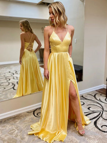 A Line V Neck Yellow Satin Backless Long Prom Dresses, Open Back Yellow Long Formal Evening Dresses