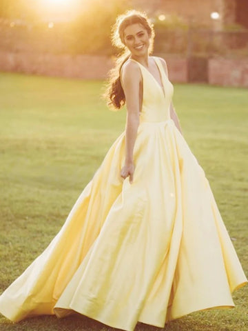 A Line V Neck Yellow Satin Long Prom Dresses, Yellow V Neck Long Formal Evening Dresses