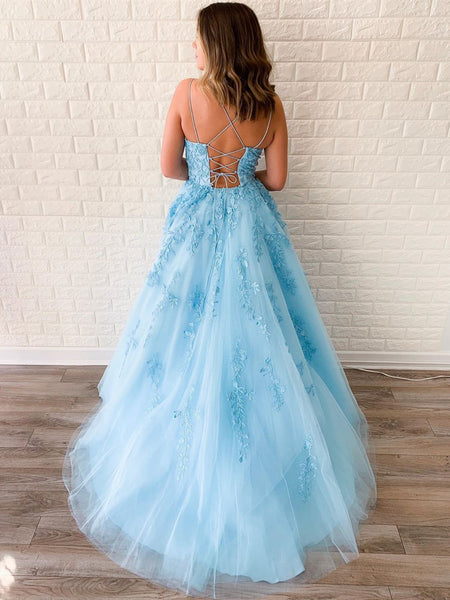 A Line Backless Blue Lace Prom Dresses, Backless Blue Lace Formal Evening Dresses