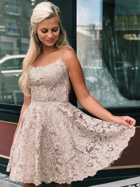 A Line Backless Short Blue Champagne White Lace Prom Dresses, Short Backless Lace Formal Homecoming Dresses