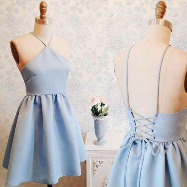 A Line Backless Short Blue Prom Dresses, Short Blue Homecoming Formal Dresses, Evening Dresses