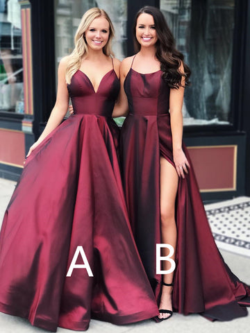 A Line Burgundy Long Prom Dresses, Burgundy Long Formal Graduation Evening Dresses