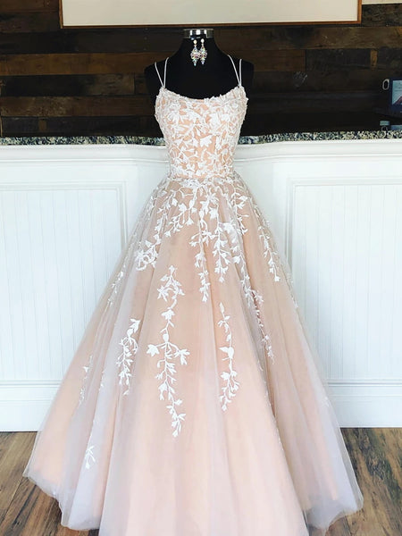 A Line Champagne Lace Wedding Dresses, Champagne Lace Prom Formal Evening Dresses with Corset Back
