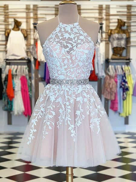A Line Halter Neck Short Champagne Lace Prom Dresses, Short Champagne Lace Formal Homecoming Dresses