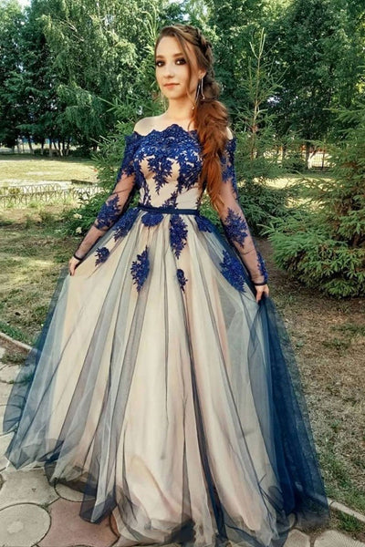 A Line Long Sleeves Blue Lace Prom Dresses, Long Sleeves Blue Lace Formal Graduation Homecoming Dresses