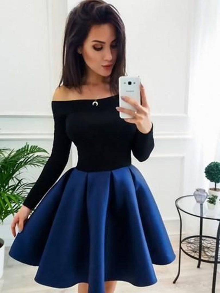 A Line Long Sleeves Short Blue Prom Dresses, Short Blue Long Sleeves Formal Homecoming Dresses