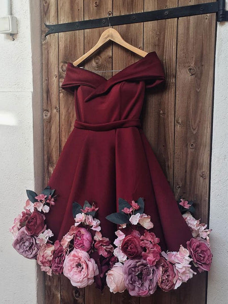 A Line Off Shoulder Short Burgundy Floral Prom Dresses, Short Burgundy Floral Formal Graduation Cocktail Dresses