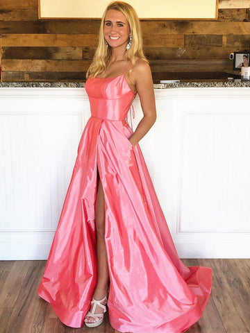 A Line Pink Backless Prom Dresses, Pink Backless Formal Evening Dresses