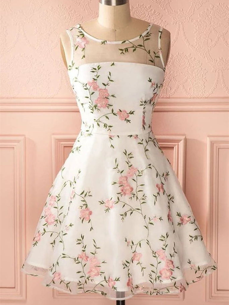 A Line Round Neck Short Lace Floral Prom Dresses, Short Lace Floral Formal Homecoming Dresses