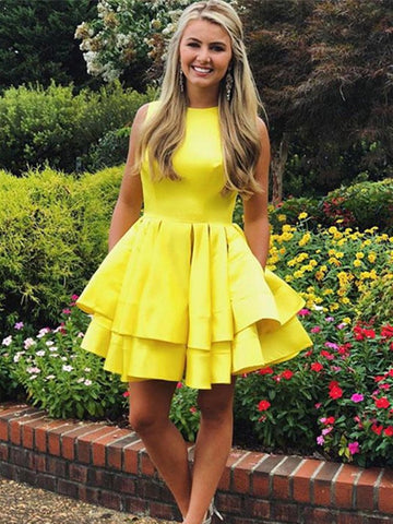 A Line Round Neck Short Yellow Prom Dresses, Short Yellow Formal Graduation Homecoming Dresses