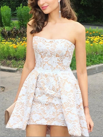 A Line Short Champagne Prom Dress with White Lace, Short Lace Formal Homecoming Bridesmaid Dresses