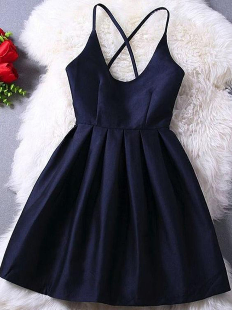 1c0f65e9638 A Line Short Navy Blue Prom Dress with Cross-Back
