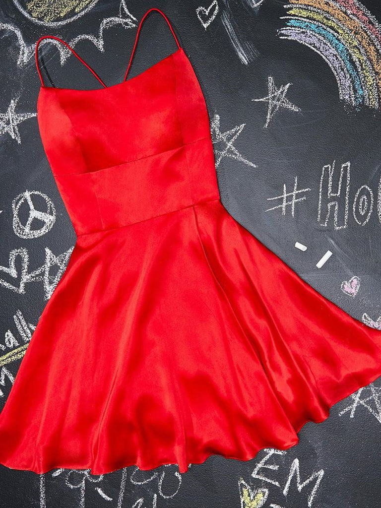 A Line Short Red Prom Dresses, Short Red Formal Homecoming Dresses
