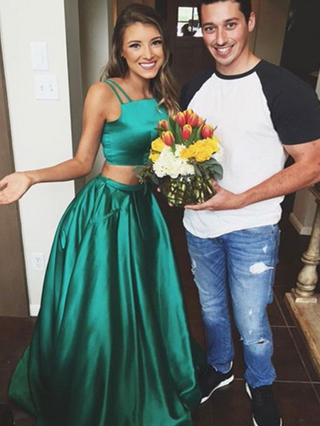 A Line Spaghetti Straps 2 Pieces Green Prom Dresses, 2 Pieces Green Formal Dresses, Graduation Dresses