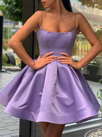 A Line Spaghetti Straps Short Purple Prom Dresses, Short Purple Formal Homecoming Dresses