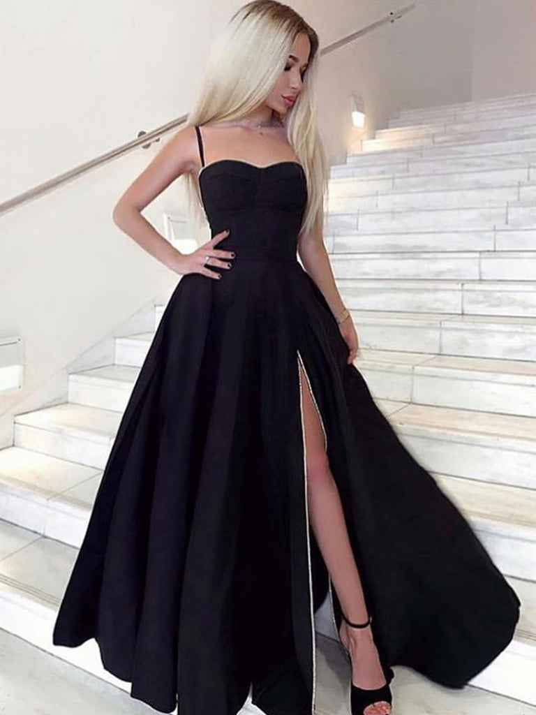 A Line Sweetheart Neck Black Prom
