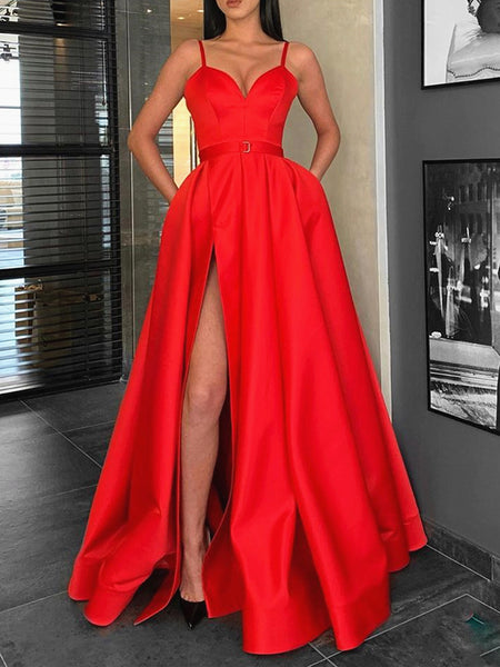 A Line Sweetheart Neck Red Long Prom Dresses with Leg Slit, Red Long Formal Graduation Evening Dresses