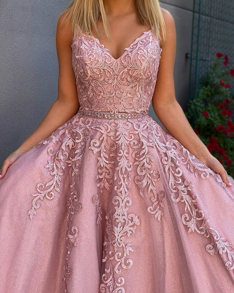 A Line V Neck 2 Pieces Pink Lace Prom Dresses, Two Pieces Pink Lace Formal Evening Dresses