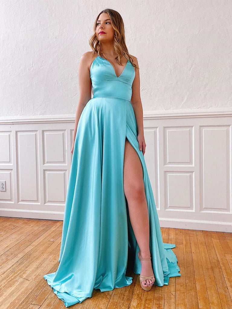 A Line V Neck Aqua Backless Long Prom Dresses, Aqua Open Back Long Formal Evening Dresses