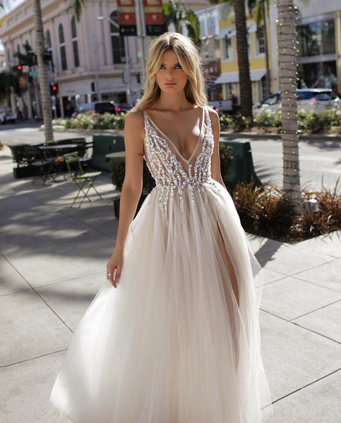 A Line V Neck Backless Beaded Tulle Prom Dresses, Ivory V Neck Backless Tulle Wedding Dresses, Evening Dresses1